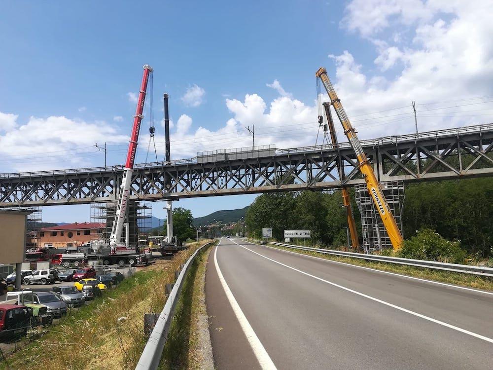 Realizzazione di selle ferroviarie in curva sul ponte al km 60+000